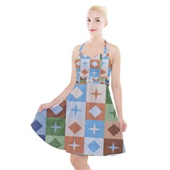 Fabric Textile Textures Cubes Halter Party Swing Dress