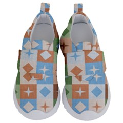 Fabric Textile Textures Cubes Velcro Strap Shoes by Jojostore