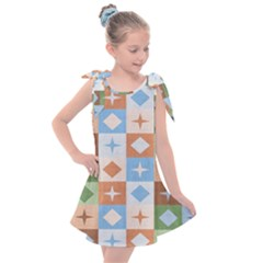 Fabric Textile Textures Cubes Kids  Tie Up Tunic Dress