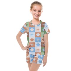 Fabric Textile Textures Cubes Kids  Mesh Tee And Shorts Set by Jojostore