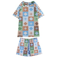 Fabric Textile Textures Cubes Kids  Swim Tee And Shorts Set