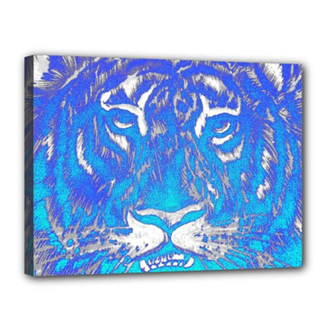Background Fabric With Tiger Head Pattern Canvas 16  X 12  (stretched) by Jojostore
