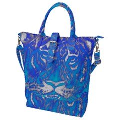 Background Fabric With Tiger Head Pattern Buckle Top Tote Bag