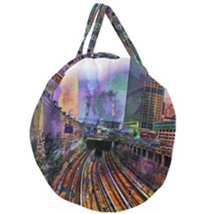 Downtown Chicago Giant Round Zipper Tote by Jojostore