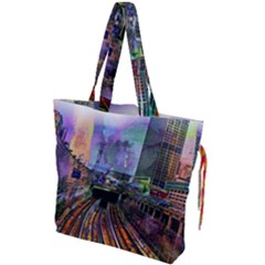 Downtown Chicago Drawstring Tote Bag by Jojostore