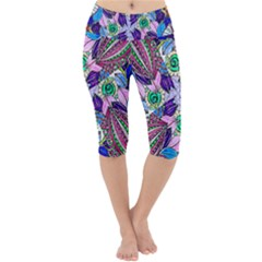 Wallpaper Created From Coloring Book Lightweight Velour Cropped Yoga Leggings by Jojostore