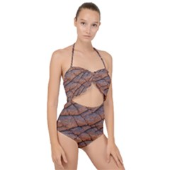 Elephant Skin Scallop Top Cut Out Swimsuit