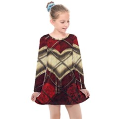 Love Hearth Background Scrapbooking Paper Kids  Long Sleeve Dress
