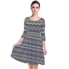 Greyscale Zig Zag Quarter Sleeve Waist Band Dress