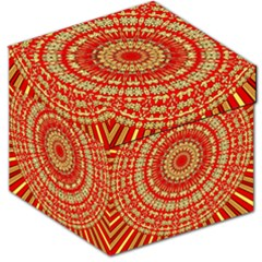 Gold And Red Mandala Storage Stool 12   by Jojostore