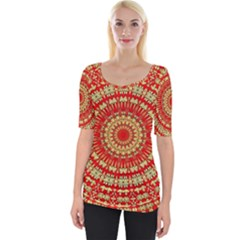 Gold And Red Mandala Wide Neckline Tee