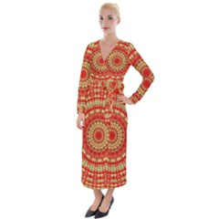 Gold And Red Mandala Velvet Maxi Wrap Dress