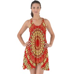 Gold And Red Mandala Show Some Back Chiffon Dress by Jojostore
