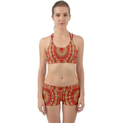 Gold And Red Mandala Back Web Gym Set by Jojostore