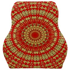 Gold And Red Mandala Car Seat Velour Cushion  by Jojostore