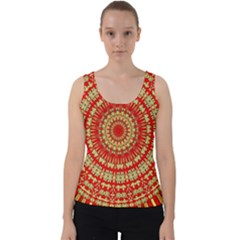 Gold And Red Mandala Velvet Tank Top