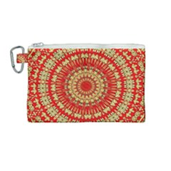 Gold And Red Mandala Canvas Cosmetic Bag (medium) by Jojostore