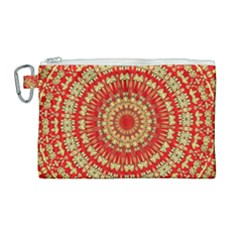 Gold And Red Mandala Canvas Cosmetic Bag (large) by Jojostore