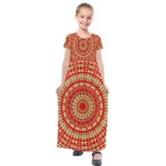 Gold And Red Mandala Kids  Short Sleeve Maxi Dress