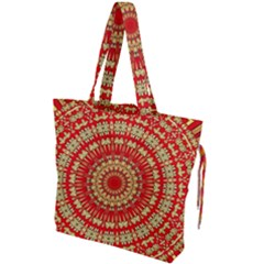 Gold And Red Mandala Drawstring Tote Bag by Jojostore