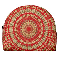 Gold And Red Mandala Horseshoe Style Canvas Pouch by Jojostore
