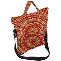 Gold And Red Mandala Fold Over Handle Tote Bag by Jojostore