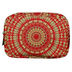 Gold And Red Mandala Make Up Pouch (small) by Jojostore