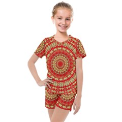 Gold And Red Mandala Kids  Mesh Tee And Shorts Set by Jojostore