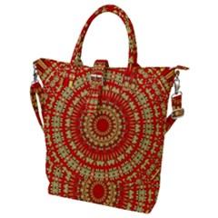 Gold And Red Mandala Buckle Top Tote Bag