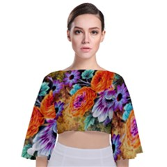 Flowers Artwork Art Digital Art Tie Back Butterfly Sleeve Chiffon Top