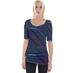 Glass Scifi Violet Ultraviolet Wide Neckline Tee by Sapixe