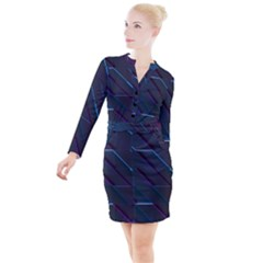 Glass Scifi Violet Ultraviolet Button Long Sleeve Dress by Sapixe