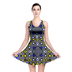 Digital Art Background Yellow Blue Reversible Skater Dress
