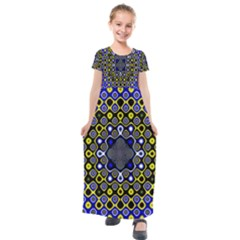 Digital Art Background Yellow Blue Kids  Short Sleeve Maxi Dress by Sapixe