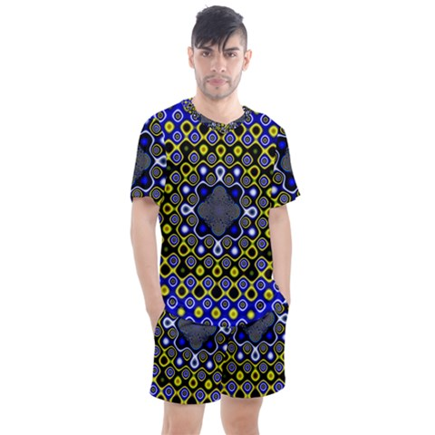 Digital Art Background Yellow Blue Men s Mesh Tee And Shorts Set by Sapixe