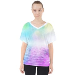 Background Art Abstract Watercolor V Neck Dolman Drape Top by Sapixe