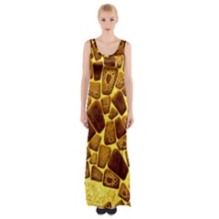 Yellow Cast Background Maxi Thigh Split Dress