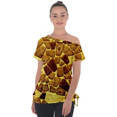Yellow Cast Background Tie Up Tee by Jojostore