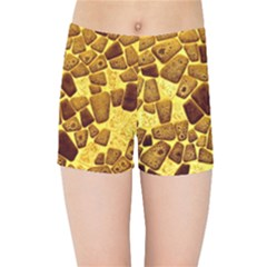 Yellow Cast Background Kids Sports Shorts