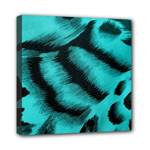 Blue Background Fabrictiger  Animal Motifs Mini Canvas 8  X 8  (stretched)