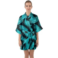 Blue Background Fabrictiger  Animal Motifs Quarter Sleeve Kimono Robe by Jojostore