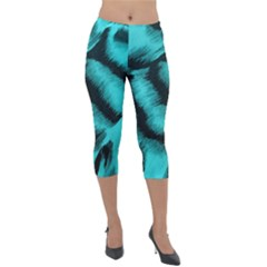 Blue Background Fabrictiger  Animal Motifs Lightweight Velour Capri Leggings  by Jojostore
