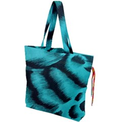 Blue Background Fabrictiger  Animal Motifs Drawstring Tote Bag by Jojostore