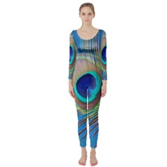 Peacock Feather Blue Green Bright Long Sleeve Catsuit