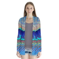Peacock Feather Blue Green Bright Drape Collar Cardigan