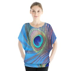 Peacock Feather Blue Green Bright Batwing Chiffon Blouse