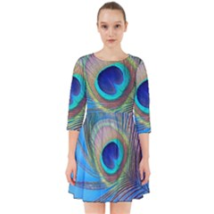Peacock Feather Blue Green Bright Smock Dress by Jojostore