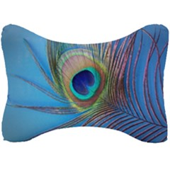 Peacock Feather Blue Green Bright Seat Head Rest Cushion by Jojostore