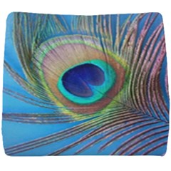 Peacock Feather Blue Green Bright Seat Cushion by Jojostore