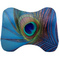 Peacock Feather Blue Green Bright Head Support Cushion by Jojostore